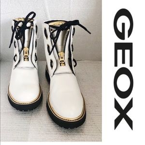 NWT GEOX White Leather Combat  boot.